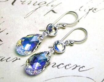 ON SALE Crystal Teardrop Earrings in Crystal AB - Swarovski Crystal Teardrops and Sterling Silver Earrings