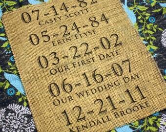 Custom Burlap Milestone Date Print