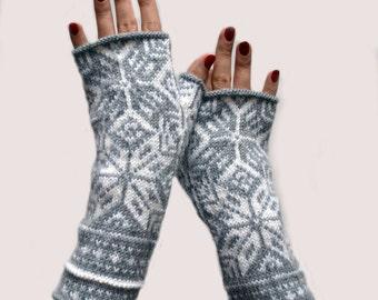 Nordic Gray Fingerless Gloves - Wool Fingerless Gloves - Scandinavian Gloves - Long Fingerless Gloves - Gift nO 60