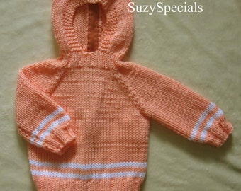 Hooded Knitted Baby Sweater with Back Zipper in Peach Color