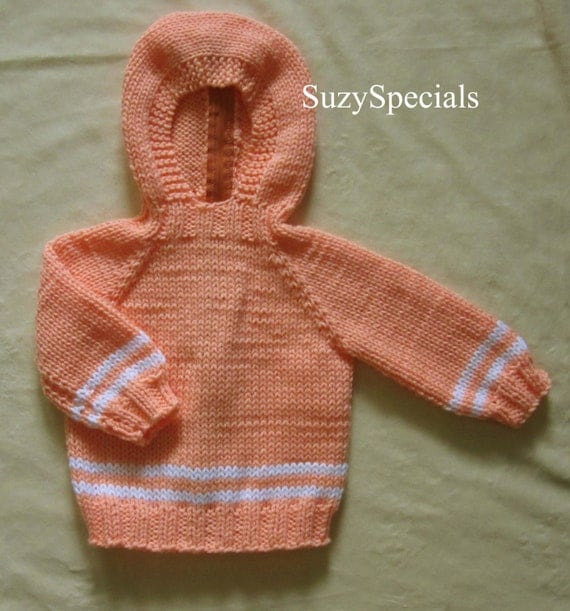 Knitting Pattern For Baby Sweater With Zipper In The Back : Hooded Knitted Baby Sweater with Back Zipper in Peach Color