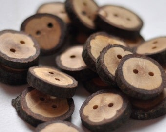 wood button •   oak wooden buttons handcrafted and handmade from a tree branch wood