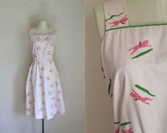 vintage vested gentress dress - KENTUCKY DERBY racing horse novelty print dress / M