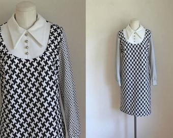 vintage 1960s mod dress - B & W op art graphic dress / M
