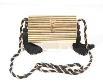 1980s Rare YSL Vintage Gold Metal Black Tassel Evening Bag Clutch