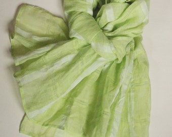 Pastel green scarf washed striped gauzy linen shawl sheer long ruffled scarf