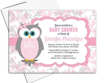 Girls pink baby shower invitation owls | printable or printed - WLP00730