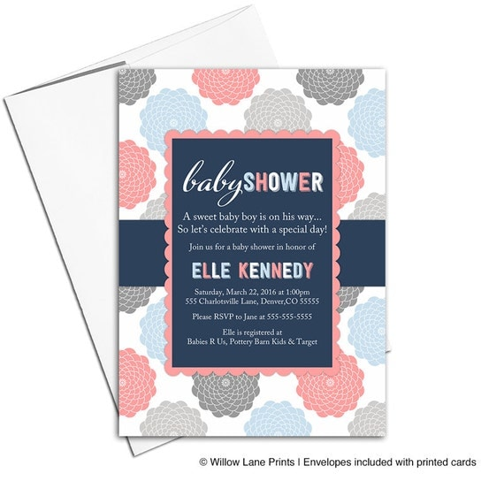 Printed baby shower invitations neutral baby shower | coral navy blue | gender neutral baby shower invites | digital or printed - WLP00776