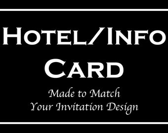 Hotel Information Cards for Bar and Bat Mitzvah Invitation Orders - Made to Match Any Design in our Store