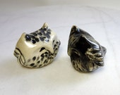 Black and White Owl Cake Toppers - Terrarium Figurines - Pottery Owls - Hoot Owl - Paper Weights