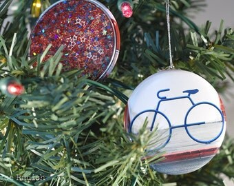 bike ornament bicycle ornament glitter ornament red white and blue bike holiday ornament - Bicycle Christmas Ornament