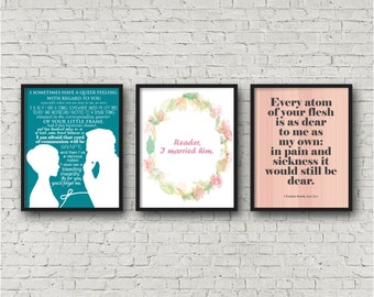 ALL 3 PRINTS digital download, Jane Eyre, Mr Rochester Art Print, Charlotte Bronte Quote, Classic Novel, Literature Lover, 11 x 14, instant