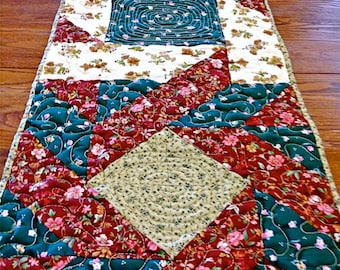 "Patchwork Quilted Table Runner / Quilted Table Topper / Quilted Tablecloth / Quilted Table Linens - Brown, Tan, Green - 14-1/4"" x 45"""