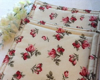Large Thermal Hotpads, Set of 2, Reversible, Red Roses, Extra Insul-Bright Layer for Thermal Protection of Counters and Tables