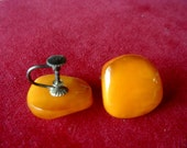 Antique 1930 Vintage Natural Cognac Butterscotch Baltic Amber Srew Back Earrings Marked