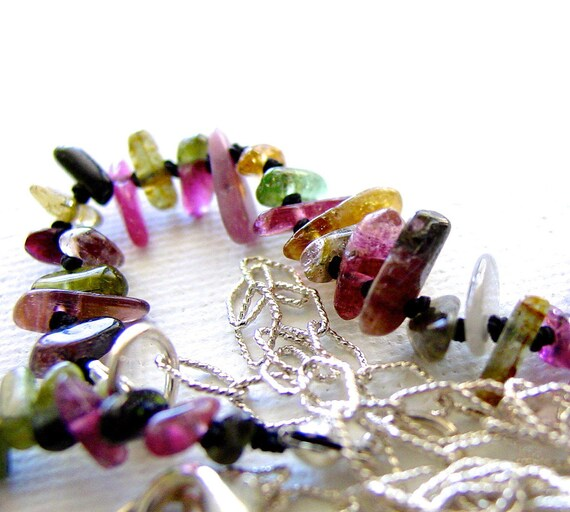 Watermelon Tourmaline Silk Knotted Necklace Sterling Silver