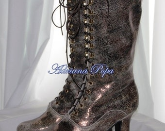 Tinfoil leather Shoes Victorian shoes in Metallic Bright Victorian Boots Ankle Boots  Bridal Victorian Boots Lace up Polish Cooper Boots