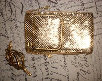 Clutch, metal mesh, gold, removable strap
