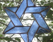 Blue Mist Star of David Stained Glass Suncatcher Ornament