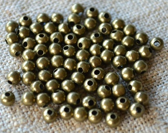 500pcs Metal Bead Antiqued Gold Plated Brass 3mm Smooth Round