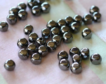 100pcs Metal Bead Gunmetal Plated Brass 3x3mm Rounded Square