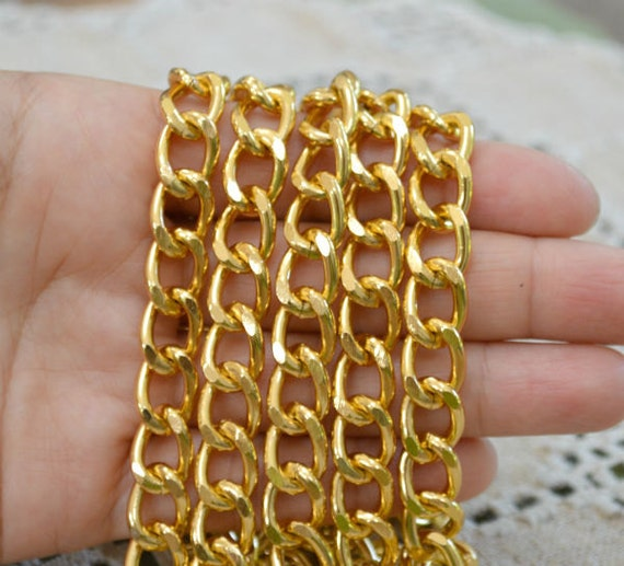 25ft Craft Chain Gold  Aluminum 14x10x2.5mm Twisted Oval Links 14mm