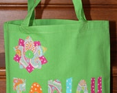 Girls Personalized Tote name applique beach pool sports bag custom birthday party gift idea name applique school preschool daycare dance