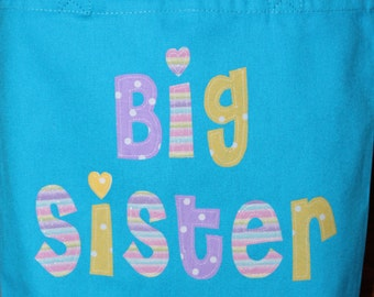 """Large Personalized Big Sister Tote (13.5"""" x 13.5"""" x 4"""") - kids book bag girl library school custom name birthday gift idea flower wedding"""