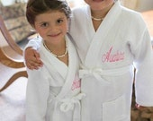 2 Flower Girl Spa Robes Wedding Party Children Monogrammed your choice of color Custom Made Front and back embroidery is included