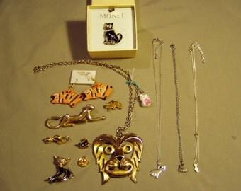 Vintage Lot Cat Lion Tiger Pendant Necklaces Pins Earrings Monet Black Cat 8316