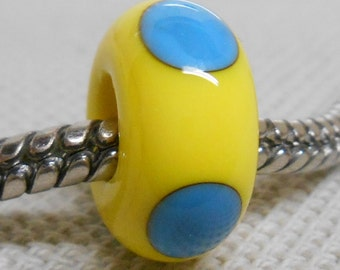 Yellow and Blue Glass Lampwork Bead Large Hole European Style Charm Bead