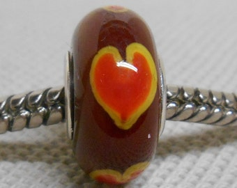 Handmade Lampwork Bead European Charm Bead Brown with Yellow and Red Hearts Silver Cored