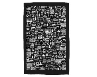Brighton tea towel - Black Brighton tea-towel - Brighton and Hove gifts - Brighton house warming gift - Brighton presents