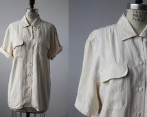 Vintage SILK Ivory Satin Classic Blouse Short Sleeve Minimalist 80s Oversized Oxford Shirt size L
