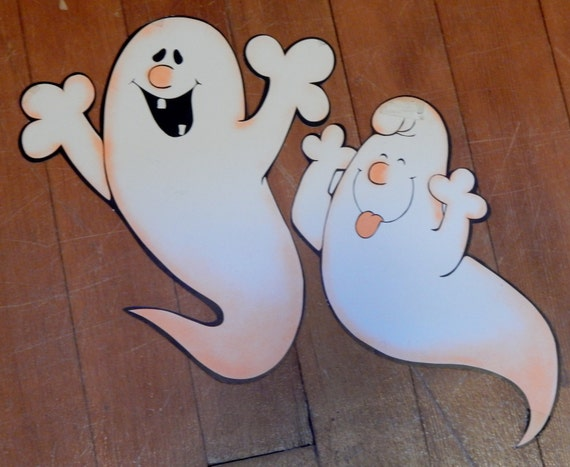 Vintage Halloween Ghosts Decorations Silly Ghost Decor Black Orange 70's Paper Ephemera