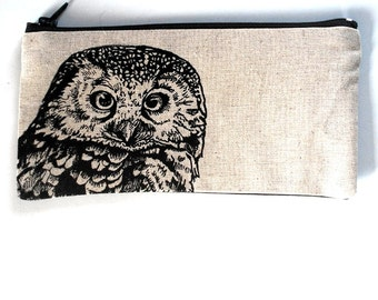 Back to School, Pencil Case, Woodland Owl Screen Print