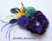 MARDI - Purple Green Yellow Black Handmade Flower Peacock Feather Mardi Gras Headpiece Gold Rhinestone Wedding Fascinator Bridal Hair Clip