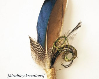 Blue Mallard Duck Feather Groom Groomsmen Boutonniere with Guinea Emu Herl Burlap THANDION RUSTIC Wedding Prom Lapel Pin Buttonhole Keepsake