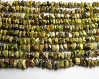 Yellow Turquoise - rounded nugget chip beads - full strand - Yellow matrix turquoise - PSC287