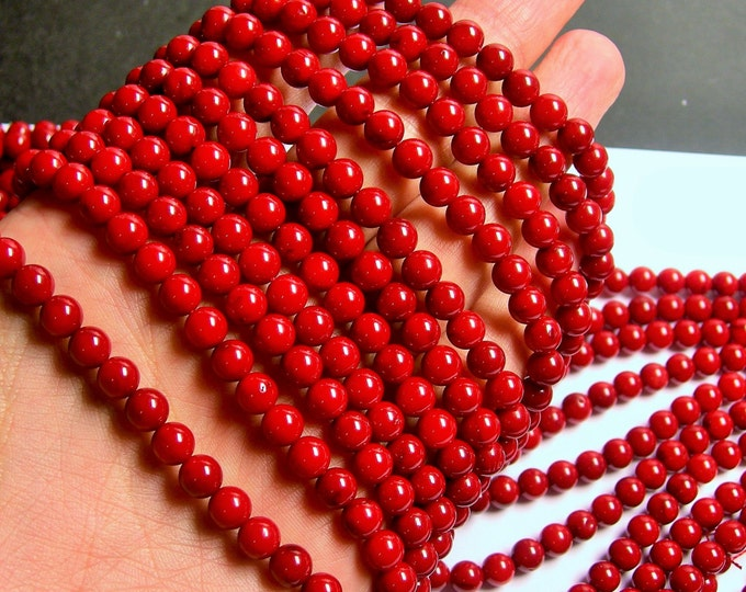Coral red -  6mm ( 6.3mm ) round bead - 1 full strand -  A quality -  63 beads - RFG712