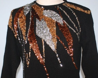 SALE Vintage UGLY CHrisTMAS Sweater . Black Sequined Christmas Sweater . Silk Angora Lambswool Gold Silver Bronze Sequins . Kitsch