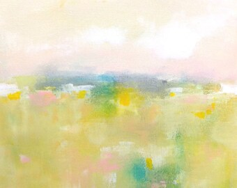 Cheerful Yellow Abstract Landscape Original Painting -Quiet Yellow Landscape 12 x 12