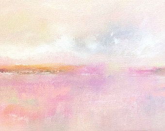 Small pink abstract seascape original painting- Valentine Sea 12 x 6