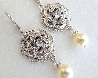 Pearl Bridal Earrings,Rhinestone Wedding Bridal Earrings,Rhinestone Chandeliers Earrings,Pearl Drops,Pearl,Filigree,Rose,ROSELANI