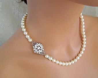 Bridal Pearl Necklace, pearl necklace, wedding jewelry, pearl Rhinestone Necklace, Swarovski Crystal necklace, Wedding Necklace, ALEXANDRA