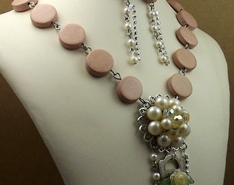 Victorian Key Necklace Earring Set, Dusty Rose Pink, Pearl Cluster