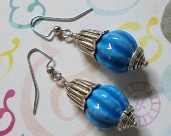 Blue Flower Bud Earrings (2582)
