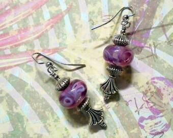 Pink Swirl Lampwork Earrings (3025)