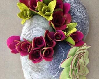 Felt succulent plant arrangement