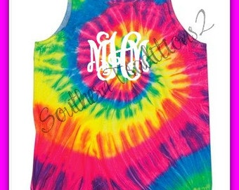Tye dye shirt - Monogram Tye dye Tank top - Tye Dye Beach cover up - Big Little Sorority Shirt
